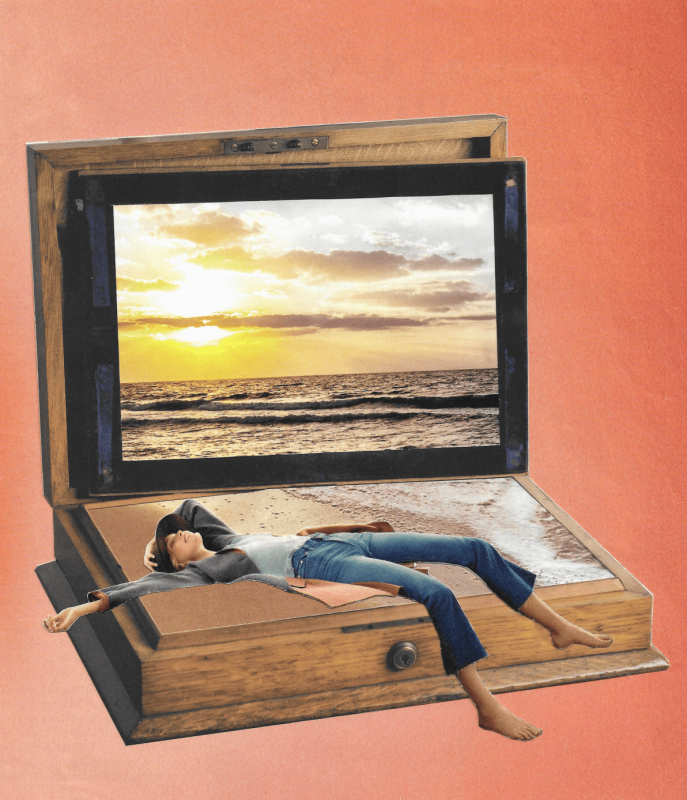 paper collage with an open wooden box and a woman lyingat the beach in front of an sunset