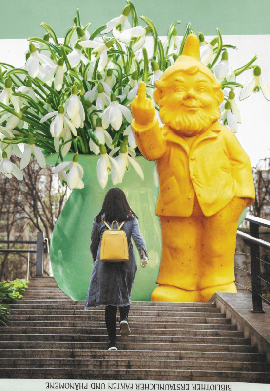 girl with yellow rucksack walking upstairs upon a big vase with spring flowers and an huge yellow garden gnome